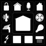Комплект гаража, кондиционера воздуха, браузера, пожарной сигнализации, силы, Smar иллюстрация вектора