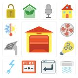 Комплект гаража, кондиционера воздуха, браузера, пожарной сигнализации, силы, Smar иллюстрация штока