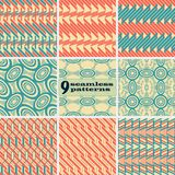 Комплект геометрических безшовных картин в винтажных цветах иллюстрация штока