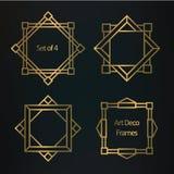 Комплект геометрических границ и рамок стиля Арт Деко Стоковые Фото