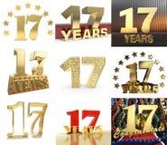 Комплект 17 год дизайн торжества 17 год Элементы шаблона номера годовщины золотые для вашей вечеринки по случаю дня рождения 3d Бесплатная Иллюстрация
