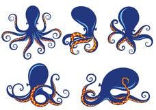 Комплект голубого силуэта осьминога Стоковое Фото