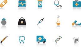 комплект голубой иконы медицинский Стоковая Фотография