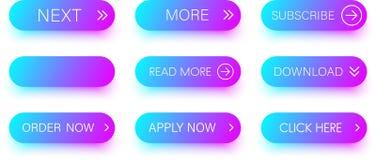 Комплект голубых и фиолетовых значков изолированных на белизне Стоковые Изображения