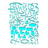 Комплект голубых стрелок вектора и геометрических форм