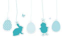 Комплект голубых hangtags пасхи Стоковое Изображение