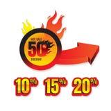 Комплект гореть обозначает скидку 50% и маркирует для горячей продажи ба бесплатная иллюстрация