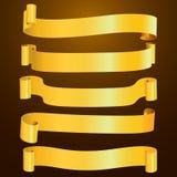 Комплект горизонтального пустого золота изогнул бумажное знамя ленты Стоковое Изображение