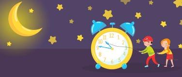 Комплект горизонтальных знамен, спокойной ночи и сладостных мечт, как он работает элементы иллюстраций вектора для дизайна образо иллюстрация штока