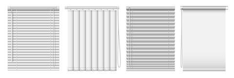 Комплект горизонтальных и вертикальных шторок окна Занавесы реалистической иллюстрации вектора горизонтальные слепые стоковое фото