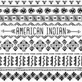 Комплект границ коренного американца безшовных геометрический орнамент Стоковые Фото