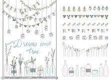 Комплект границ нарисованных рукой, гирлянд, опарников, бутылок с цветками иллюстрация вектора