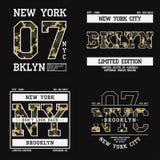 Комплект графического дизайна для футболки с текстурой камуфлирования Печать футболки Нью-Йорка с лозунгом Оформление одеяния Бру иллюстрация штока