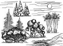 Комплект графической линии иллюстрации, антуража деревьев на белой предпосылке Стоковые Изображения RF