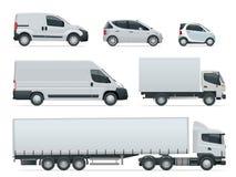 Комплект груза перевозит взгляд со стороны на грузовиках Средства доставки Тележка и Van груза также вектор иллюстрации притяжки  иллюстрация вектора
