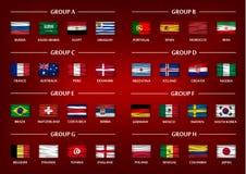 Комплект группы команды чашки футбола Реалистические волнистые национальные флаги на предпосылке красного цвета градиента Вектор  Стоковые Изображения RF