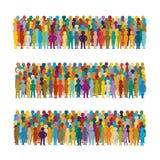 Комплект групп людей вектора аранжировал в ряд в плоском стиле бесплатная иллюстрация