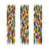 Комплект групп людей вектора аранжировал в строках вертикали в плоском стиле иллюстрация штока