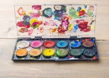 Комплект грязных красок акварели Стоковое фото RF