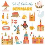 Комплект датского ориентир ориентира, известных мест, символов иллюстрация вектора