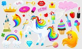 Комплект девушек фасонирует милые заплаты, стикеры потехи, значки и штыри Элементы собрания различные Принцесса и единорог Стоковые Изображения RF