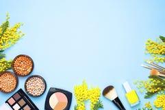 Комплект декоративных косметик для щеток корректора теней для век румян порошка состава и цветков мимозы на голубой предпосылке с стоковые изображения