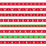 Комплект декоративных лент с снежинками, символ Нового Года и рождество, иллюстрация вектора иллюстрация вектора