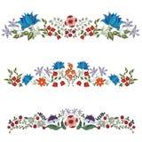 Комплект декоративных флористических границ Стоковое Фото