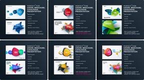 Комплект дела брошюры дизайна, абстрактного годового отчета, горизонтального плана крышки, рогульки в A4 с вектором красочным бесплатная иллюстрация