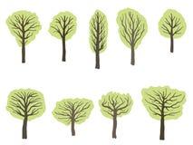 Комплект дерева вектора иллюстрация штока