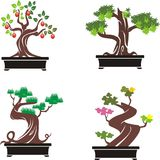 Комплект деревьев бонзаев также вектор иллюстрации притяжки corel Стоковое Изображение