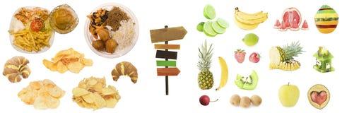 Комплект деталей фаст-фуда и здорового плодоовощ Стоковое фото RF