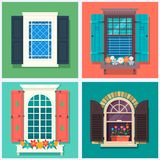 Комплект детальных различных красочных окон с windowsills, штарками, занавесами, и иллюстрацией вектора flowerspot Стоковое Изображение RF