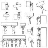 Комплект диаграмм ручки, стоять людей ручки, держа пустые знаки, доски, знамя, плакаты, людей и женщин усмехаясь, сыгранность бесплатная иллюстрация