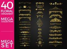 Комплект дизайна вектора флористического орнамента роскошного Стоковое Фото