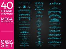 Комплект дизайна вектора флористического орнамента роскошного Стоковое Изображение