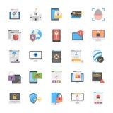 Комплект дизайна значков безопасностью кибер плоского Стоковые Фотографии RF