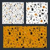 Комплект дизайна картины хеллоуина безшовного с призраком, тыквой и черным котом иллюстрация штока