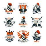 Комплект дизайна логотипа средних возрастов, винтажная средневековая эмблема с 1975 иллюстраций вектора иллюстрация штока