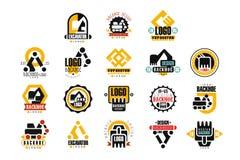 Комплект дизайна логотипа экскаватора, иллюстрации вектора обслуживания backhoe Бесплатная Иллюстрация