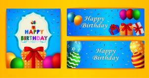 Комплект дизайна поздравительных открыток дня рождения иллюстрация штока