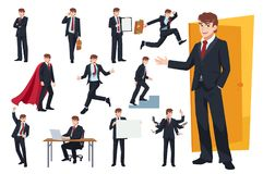 Комплект дизайна характера бизнесмена иллюстрация штока