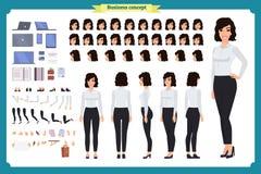 Комплект дизайна характера коммерсантки Творение характера девушки дела установленное с различными взглядами, представляет и пока иллюстрация вектора