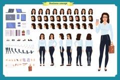 Комплект дизайна характера коммерсантки Фронт, сторона, задний взгляд одушевил характер Творение характера девушки дела иллюстрация вектора
