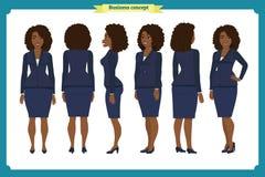 Комплект дизайна характера коммерсантки Фронт, сторона, задняя Девушка дела Стиль шаржа, плоский изолированный вектор Афроамерика иллюстрация вектора