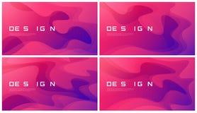 Комплект дизайнов абстрактного градиента геометрических, красочных волнистых минимумов Стоковое Фото