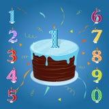 Комплект для вечеринки по случаю дня рождения именниный пирог миражирует счастливое Стоковое Изображение RF