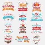 Комплект дня приятельства плакатов счастливого Стоковое Изображение RF