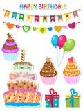 Комплект дня рождения иллюстрация штока