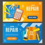 Комплект домашнего знамени ремонтных услуг горизонтальный вектор Стоковые Фотографии RF